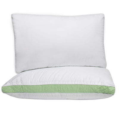 """2 Iso-Pedic Hypoallergenic Polyester Fill Firm Pillows 2"""" Quilted Gusset"""