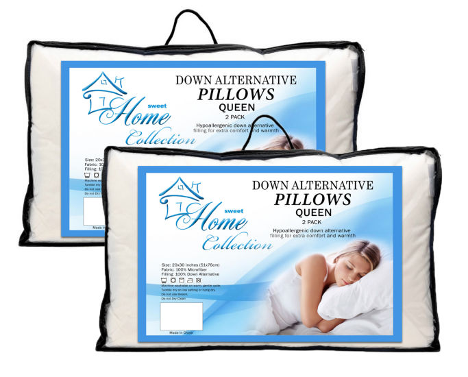 Down Alternative Hypoallergenic Bed Pillow Premium 4-Pack All Sizes