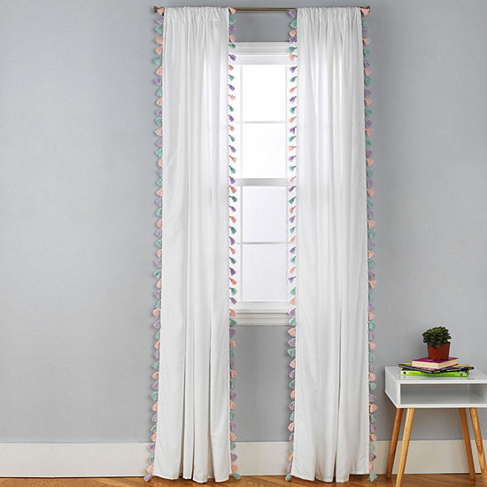 Frank And Lulu Tassel Party Rod-Pocket Curtain Panel