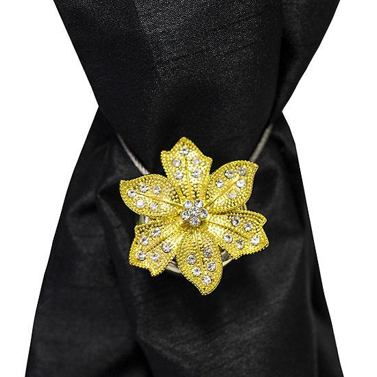 Gold & Rhinestone Floral Carnation Magnetic Window Curtain Holdback Single