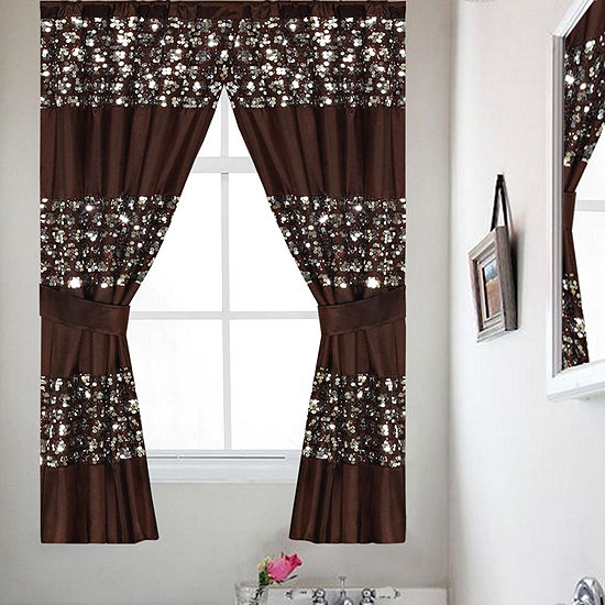 Popular Bath Sinatra Collection Bath Window Curtain Set With Tiebacks