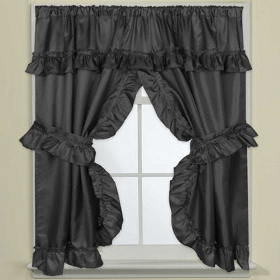 Bathroom Window Curtain Set W/Tie Backs & Ruffle Valance Lauren