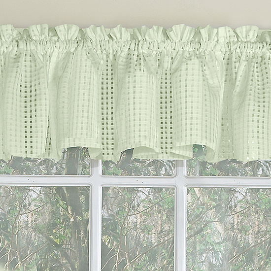 Micro-Check 2 Tone Semi-Sheer Window Curtain Tiers, Valance, or Swag