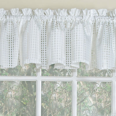 Micro-Check 2 Tone Semi-Sheer Window Curtain Tiers, Valance, or Swag