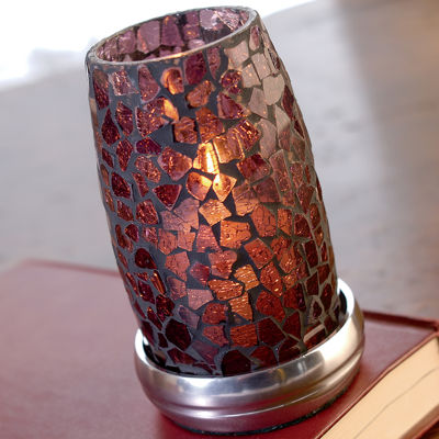 St. Croix Trading Rose Crinkle Glass Candle Holderwith Metal Base