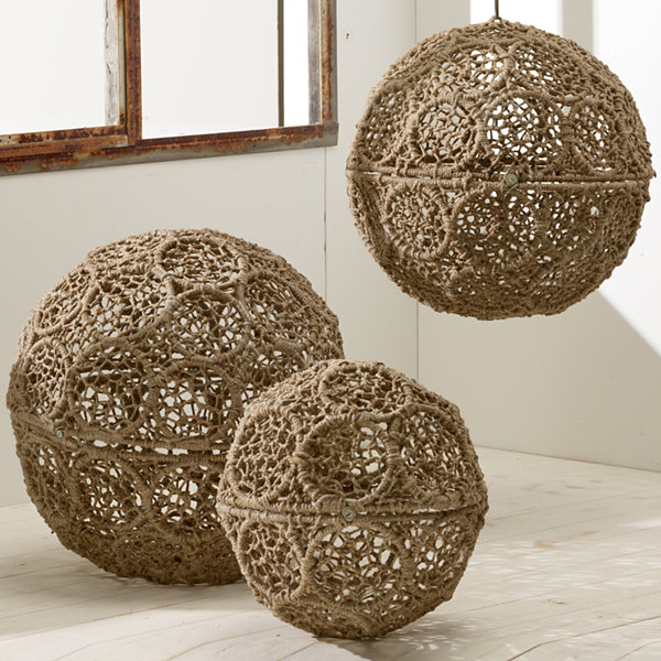 St. Croix Trading Jute Wrapped Iron Decorative Ball Set of 3