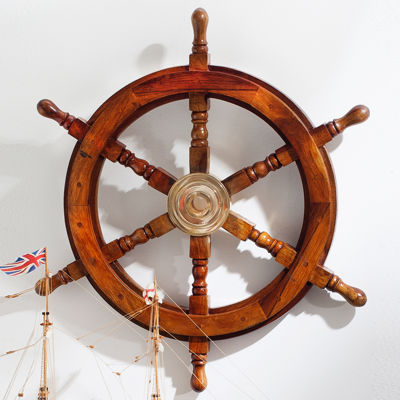 "St. Croix Trading 24"" Wooden Ships Wheel with Brass Center"""