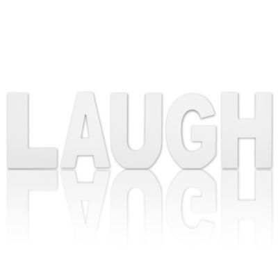 8.75 in Tall Free Standing White Finish Wooden Decorative Letters LAUGH Set