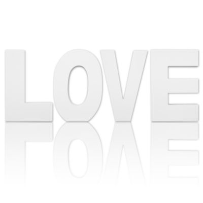 8.75 in Tall Free Standing White Finish Wooden Decorative Letters LOVE Set