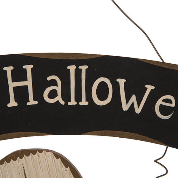 Glitzhome Happy Halloween Wooden Ghost Wall Sign
