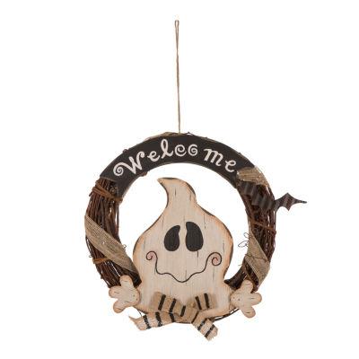 Glitzhome Wooden Rattan Welcome Ghost Wreath
