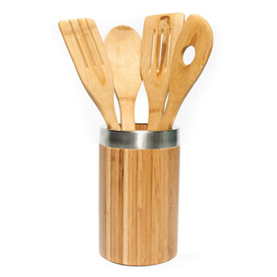 High Quality All Natural 4 Piece Bamboo Kitchen Cooking Utensil Set and Holder