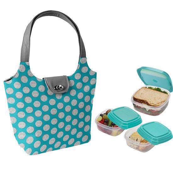 Fit & Fresh Coventry Kit Aqua Double Dot 4-pc. Reusable Bag