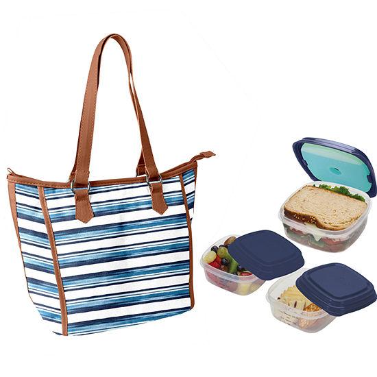Fit & Fresh Mill Creek Kit  Blue Painted Stripe 4-pc. Reusable Bag