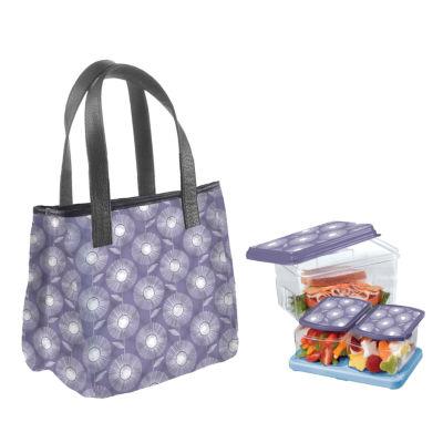 Fit & Fresh Burlington Kit Purple Sunflower Sketch 2-pc. Reusable Bag