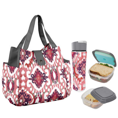 Fit & Fresh Westport Kit  Coral Painted Ikat 4-pc. Reusable Bag
