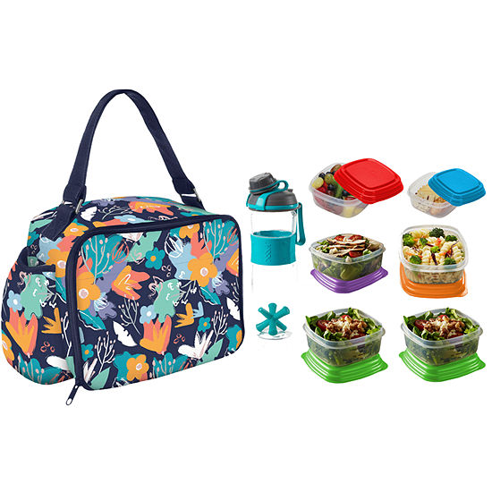 Fit & Fresh Roseville My Plate Kit Navy Painted Flowers 8-pc. Reusable Bag
