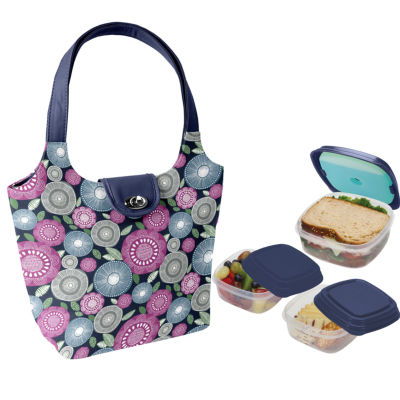 Fit & Fresh Coventry Kit Navy Flower Scramble 4-pc. Reusable Bag