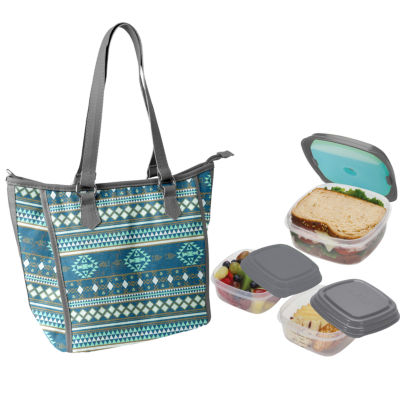 Fit & Fresh Mill Creek Kit Teal Tribal Mixer 4-pc. Reusable Bag