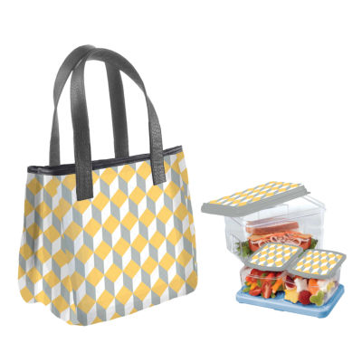 Fit & Fresh Burlington Kit Yellow Geo Chess 2-pc. Reusable Bag