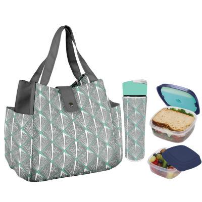 Fit & Fresh Westport Kit Mint Shell Diamonds 4-pc. Reusable Bag