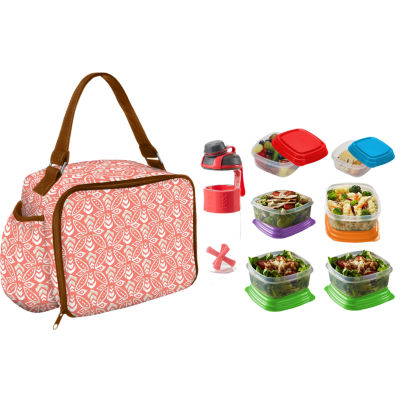 Fit & Fresh Roseville My Plate Kit Coral Stamped Rings 8-pc. Reusable Bag