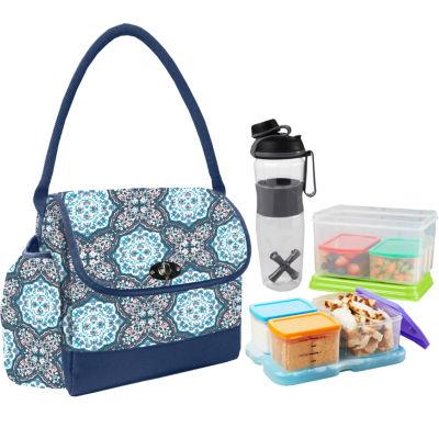 Fit & Fresh Elko My Plate Kit Blue Blossom Medallion 3-pc. Reusable Bag