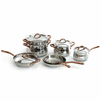 BergHOFF Ouro Cookware Set 11pc w/Rose Gold Handles
