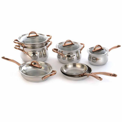 BergHOFF Ouro Cookware Set 11pc w/Rose Gold Handles & Glass Lids