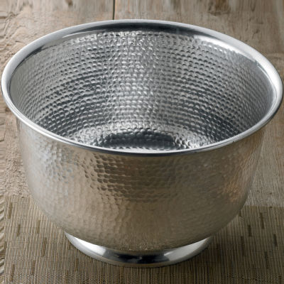 """St. Croix Trading Kindwer 15"""" Hammered Round Aluminum Punch Bowl"""