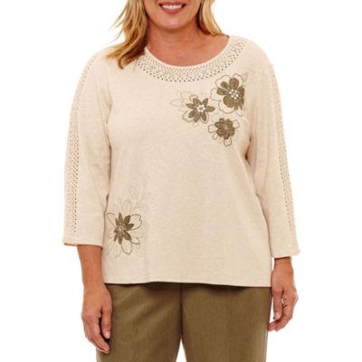 Alfred Dunner Palm Desert 3/4 Sleeve Crochet T-Shirt-Womens Plus