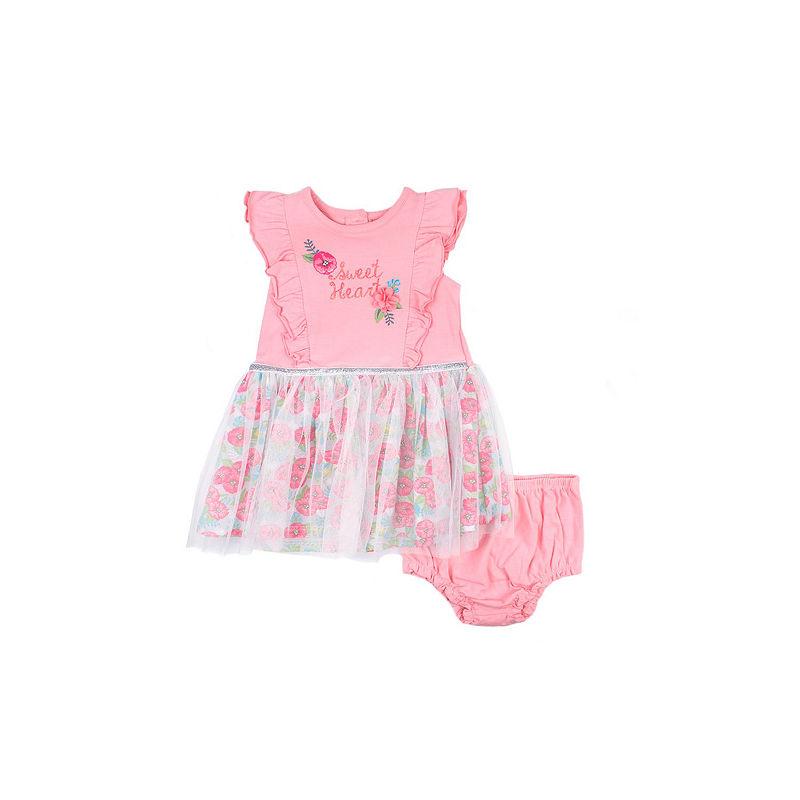 Nanette Baby Short Sleeve Tutu Dress, Girls, Peach, Size Newborn-3 Months