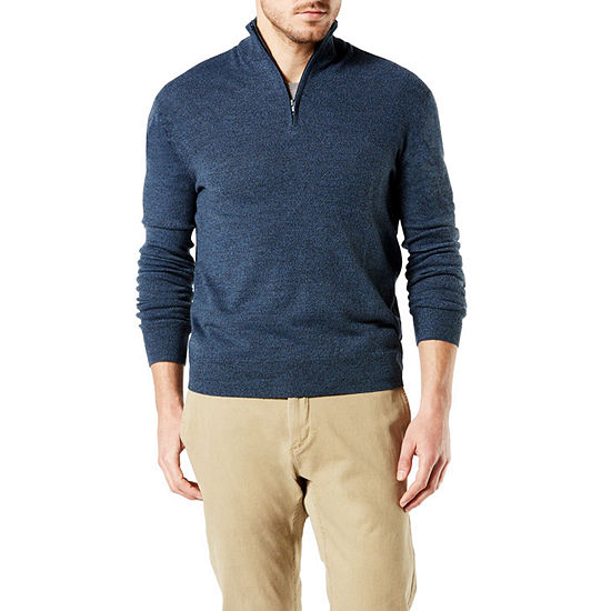 Dockers Soft Acrylic Quarter Zip Mock Neck Long Sleeve Pullover Sweater