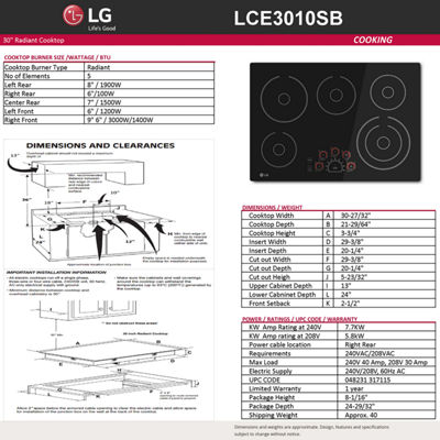"LG 30"" Radiant Cooktop with 5 Elements and SmoothTouch™ Glass Controls"