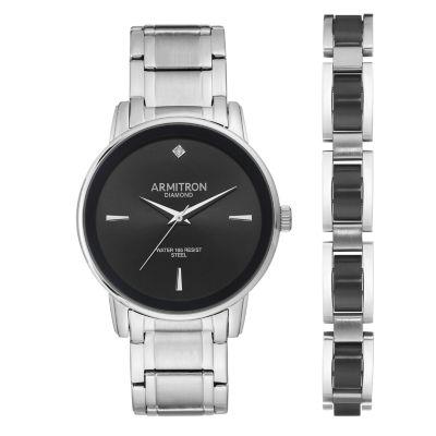 Armitron Mens Silver Tone Bracelet Watch-20/5307bksvst