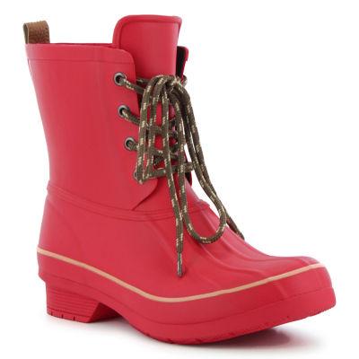 Western Chief Womens Rain Boots Lace Up Waterproof Flat Heel Pull-on Wide Width