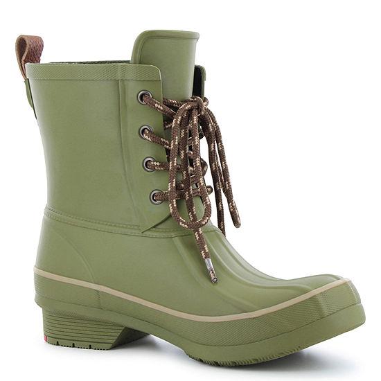 Western Chief Womens Rain Boots Lace Up Waterproof Flat Heel Pull On Wide Width