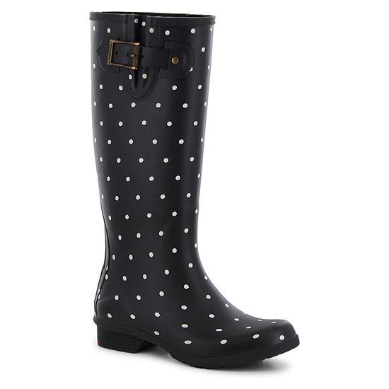 Chooka Fashion Womens Classic Printed Dot Rain Boots Waterproof