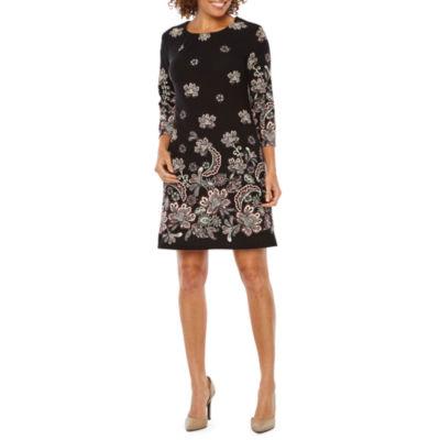 R & K Originals 3/4 Sleeve Floral Puff Print Shift Dress