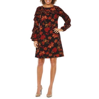 Ronni Nicole Long Sleeve Floral Shift Dress