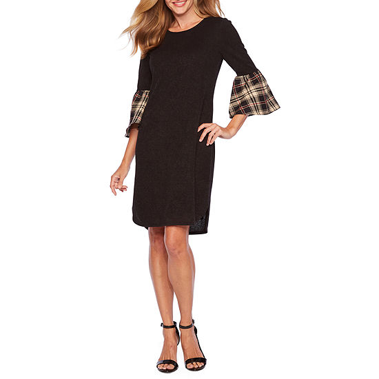 Ronni Nicole 3/4 Plaid Bell Sleeve Shift Dress