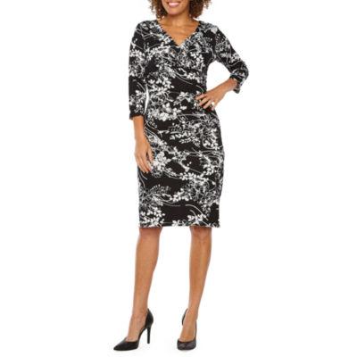 Ronni Nicole 3/4 Sleeve Floral Sheath Dress