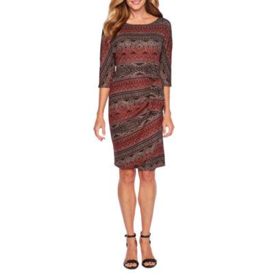 Robbie Bee 3/4 Sleeve Ombre Sheath Dress