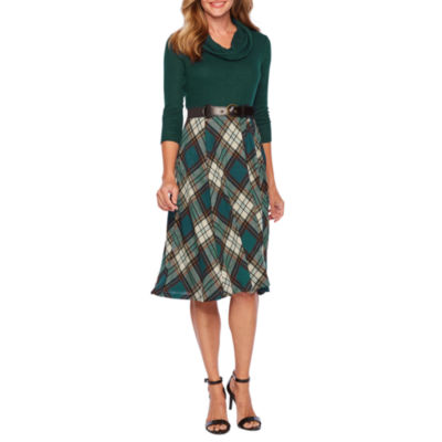 Robbie Bee 3/4 Sleeve Plaid Fit & Flare Dress