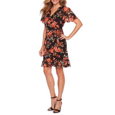 Sharagano Short Sleeve Floral Wrap Dress