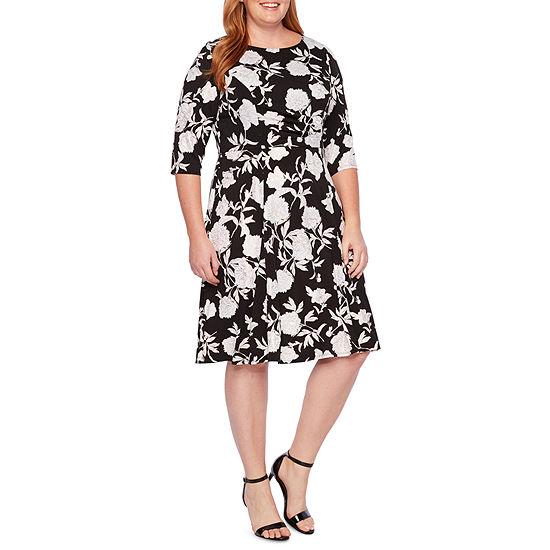 Studio 1 3/4 Sleeve Floral Fit & Flare Dress - Plus