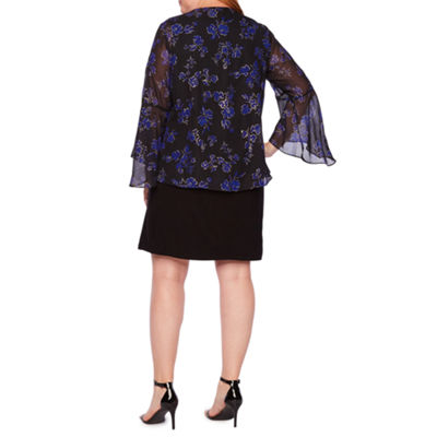 Tiana B 3/4 Sleeve Kimono Jacket Dress with Necklace - Plus