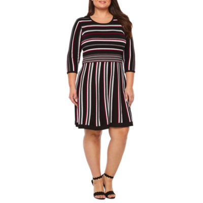 Studio 1 3/4 Sleeve Cowl Neck Sweater Dress - Plus