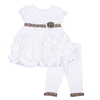 Nanette Baby 2-pc. Ivory Lace Mesh Legging Set-Baby Girls