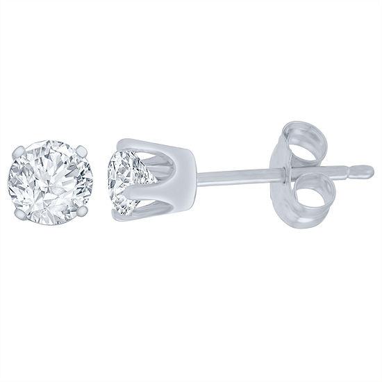 1/4 CT. T.W. Genuine White Diamond 14K White Gold 4.1mm Stud Earrings